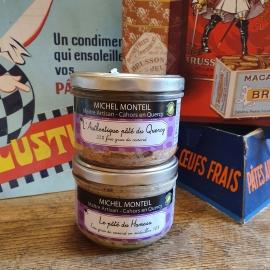 Lot de deux terrines avec foie gras