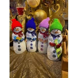 Bonhomme de neige avec son bonnet en laine