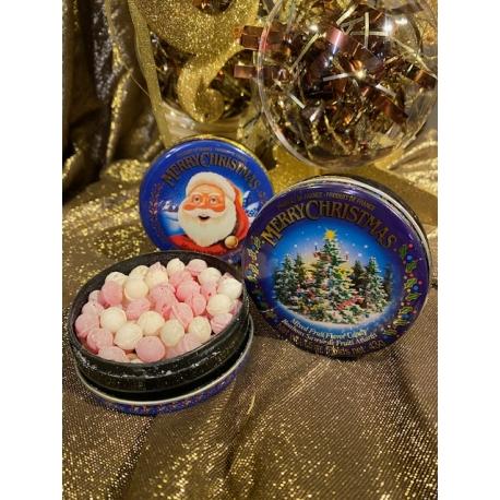 Boite ronde en métal garnie de petits bonbons