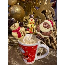 Sucettes de Noël chocolat lait ou blanc