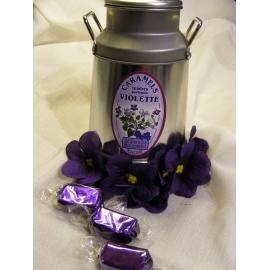 Bibon métal avec caramels à la violette