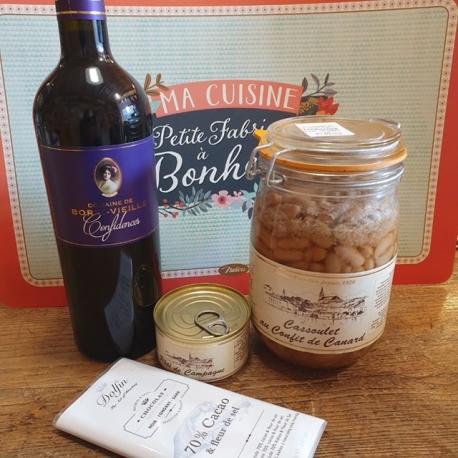 Kit repas : un cassoulet une bouteille de vin FRONTON un pâté