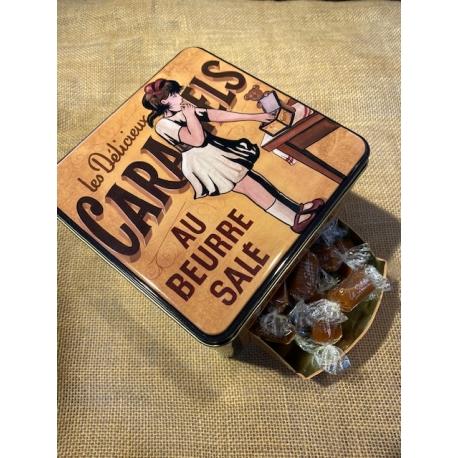 Boite métal garnie de Caramels au beurre salé